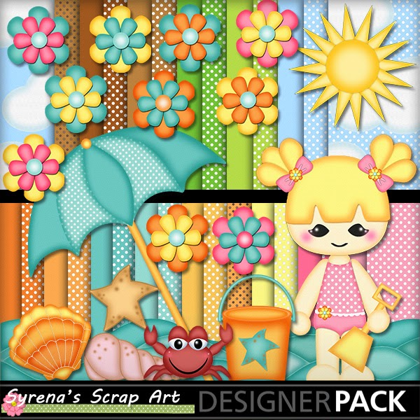 Beach Baby Girl digital scrapbook kit