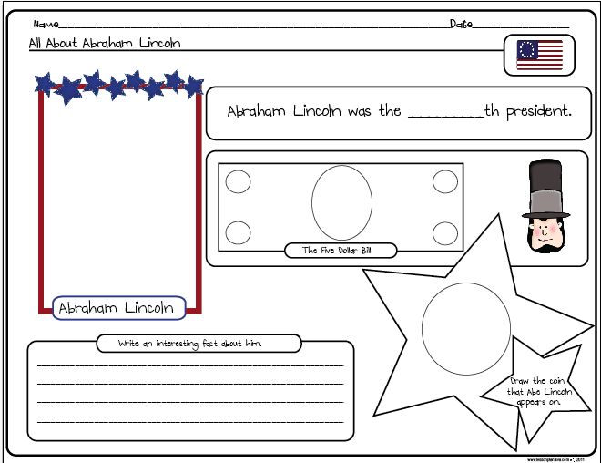 Free abraham lincoln worksheets for first grade