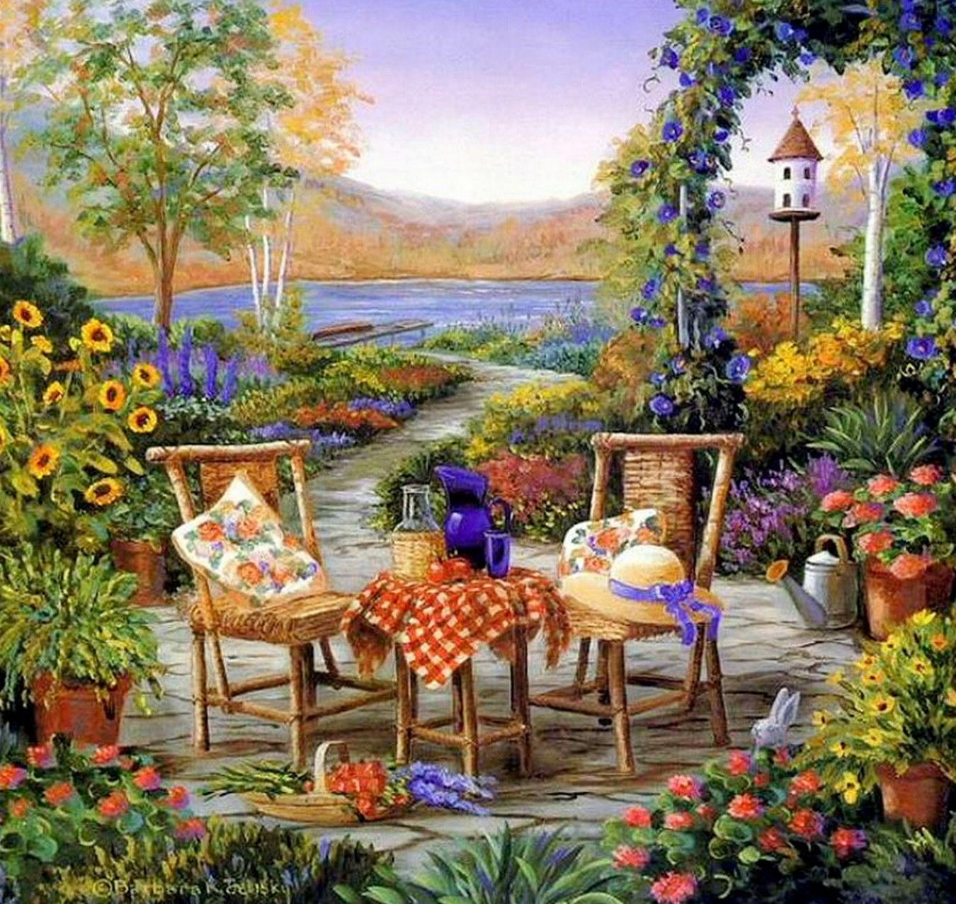 Im genes arte pinturas pinturas paisajes comerciales for Imagenes de jardines exoticos