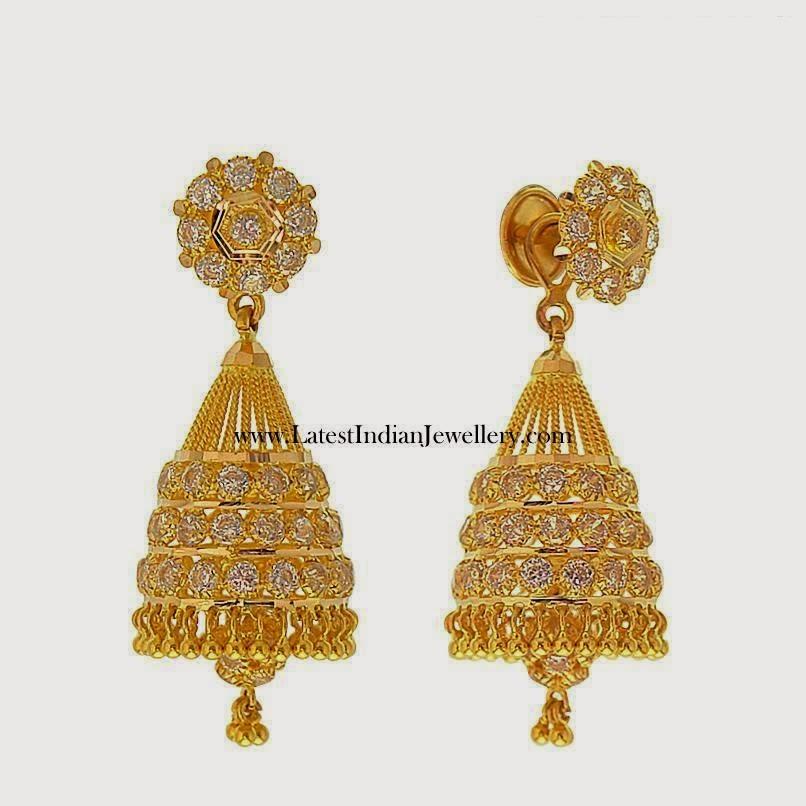 gorgeous Gold CZ jhumki earrings