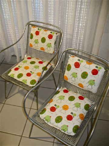 Chair cushions made by Zoila Amaral from my Funny Puns fabric ) & shiny orange dreams: Chair cushions made by Zoila Amaral from my ...