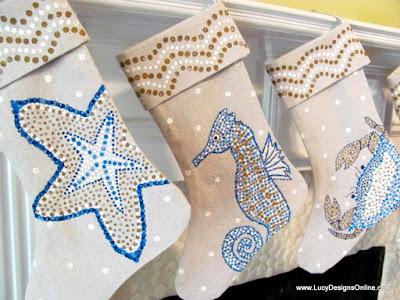 hand painted coastal beach Christmas stockings