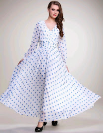 Blue Polka Dot Long Sleeve Organza Chiffon Maxi