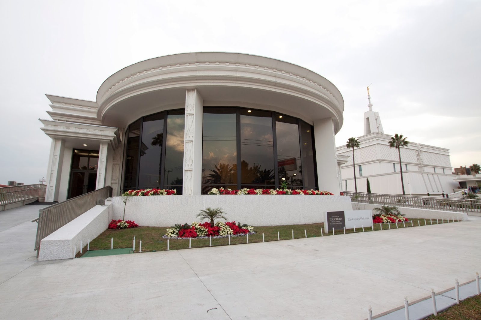 Mexico City L D S Temple Visitors Center w/ poinsettias poinsettas