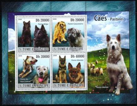2008年サントメ・プリンシペ民主共和国 グローネンダール コーカサス・シープドッグ シェパードなど牧羊犬4犬種の切手シート