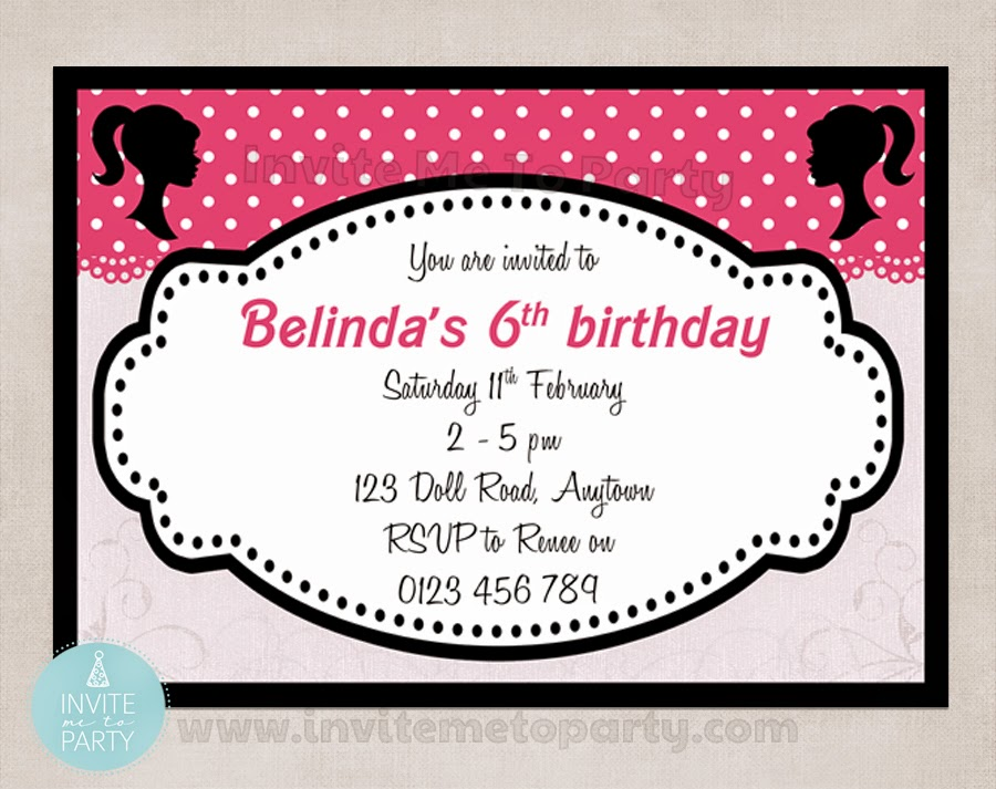 Invite Me To Party: Doll Party Invitation / Girl Party Invitation