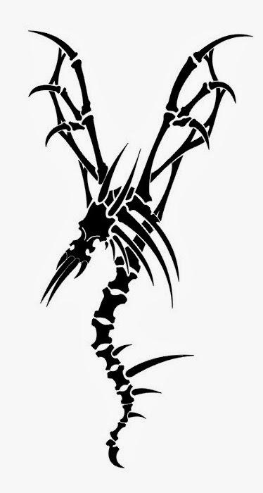 Dragon skeleton tattoo stencil