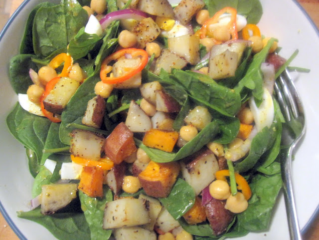Roasted Two Potato Salad with Honey Mustard Vinaigrette