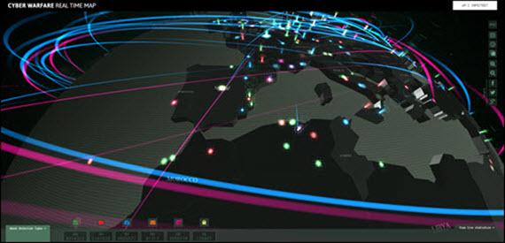 Ciberguerra a tiempo real, un curioso mapa de Kaspersky