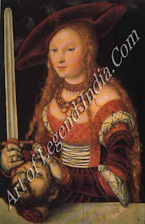 "The Great Artist Lucas Cranach Painting ""Judith with the Head of Holofernes"" c.1530 33 ¾ x 23 ¼ Kunsthistorisches Museum, Vienna"
