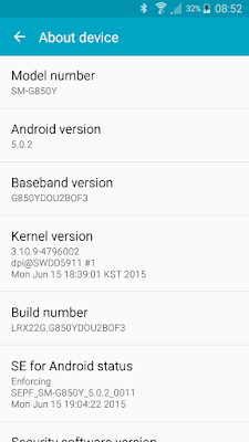 Samsung Galaxy Alpha SM-850Y running Android Lollipop 5.0.2