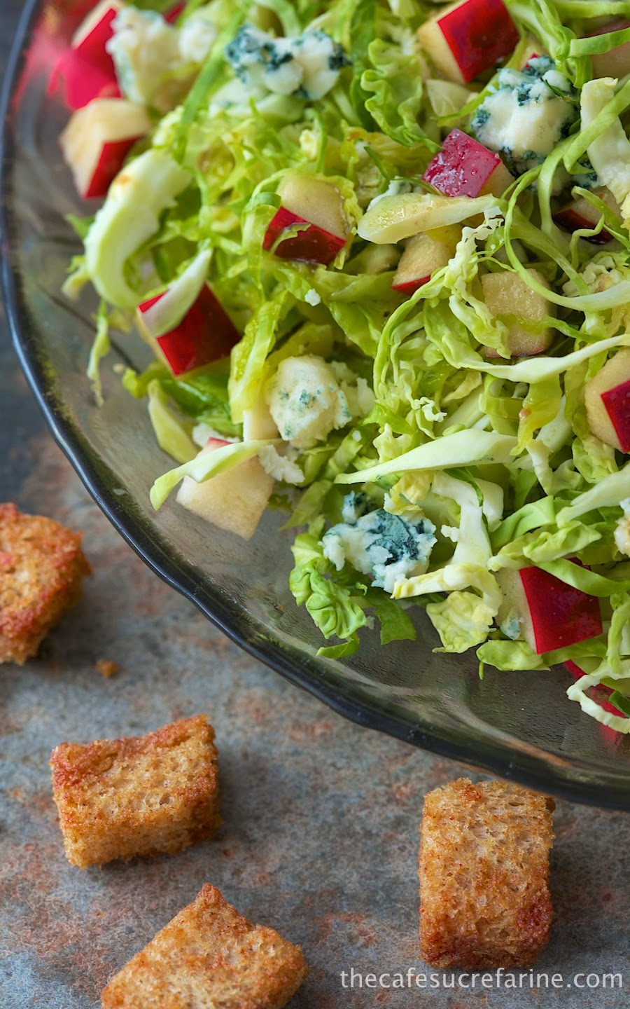 Shaved Brussels Sprouts and Apple Salad w/ Blue Cheese, Whole-Grain ...