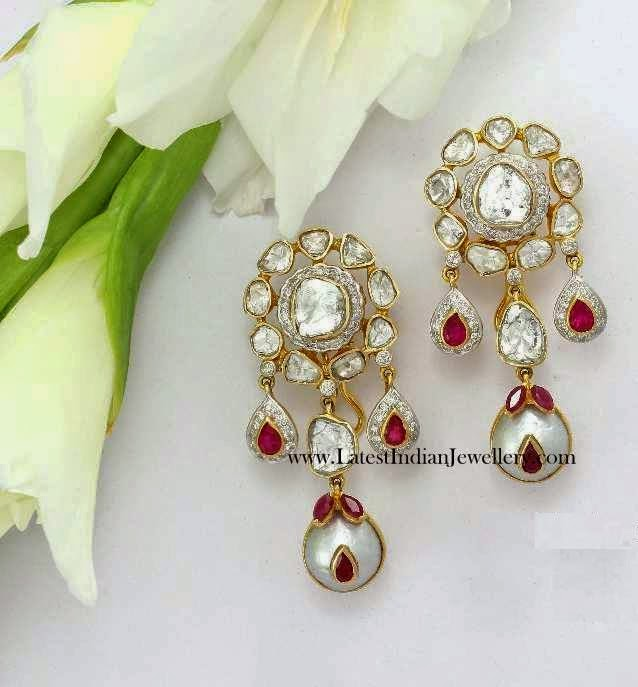 Polki Earrings in Gold