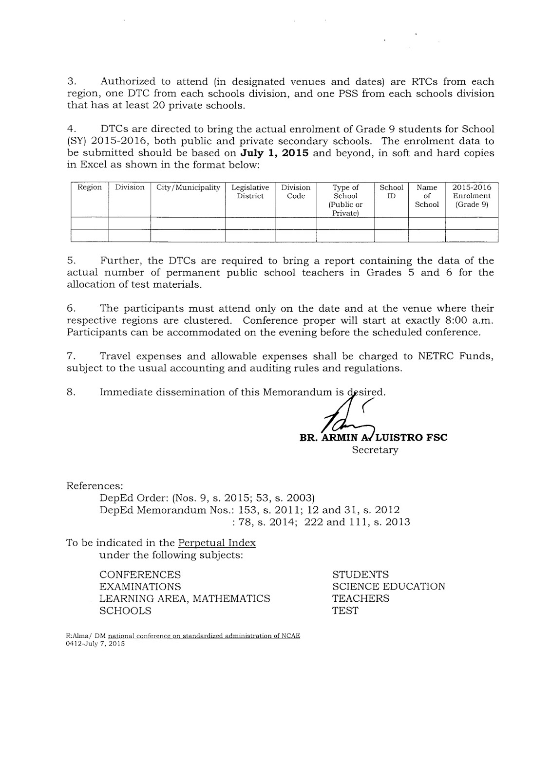 administration of ncae for grade students english proficiency attached memos