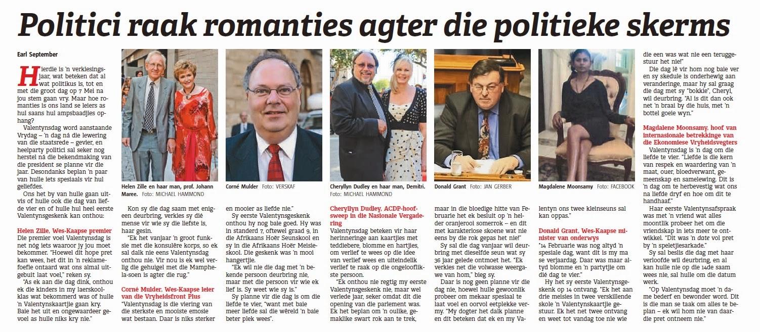 Politici raak romanties agter die politieke skerms