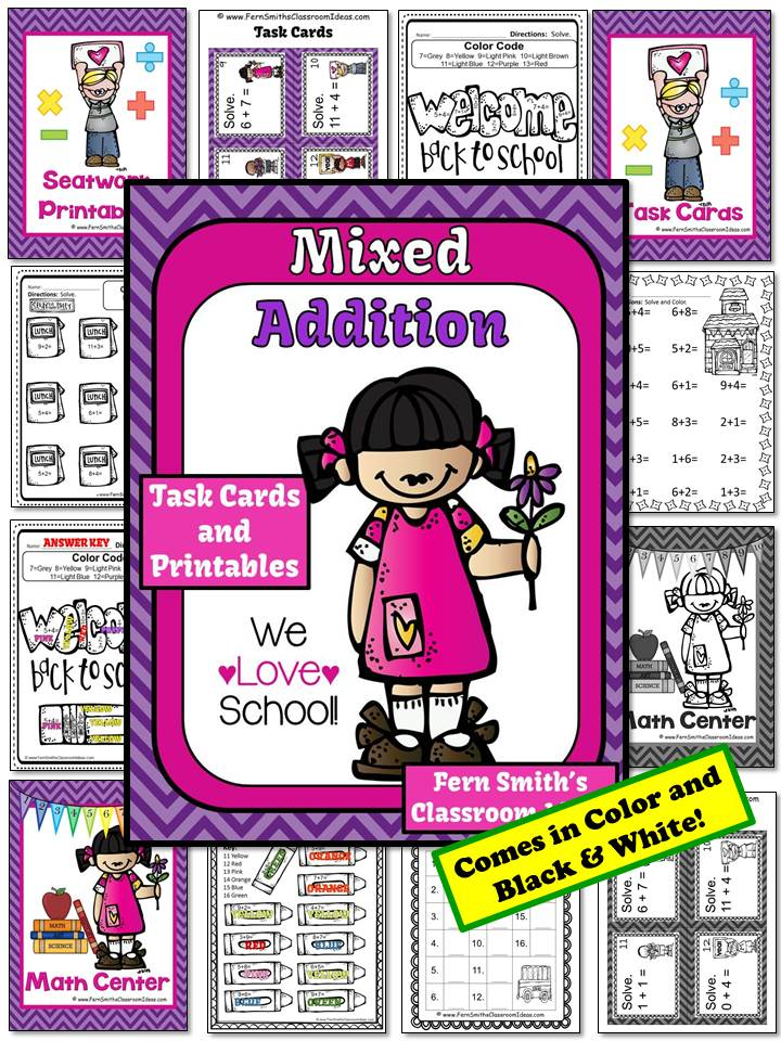 Mixed Addition We Love School Theme Printable for 1.OA.6 and 2.OA.2