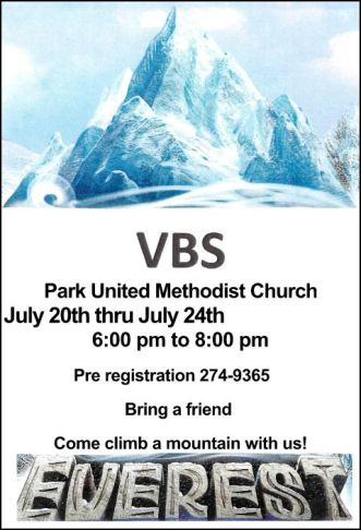 7-20/21/22/23/24 VBS at Park Methodist Church
