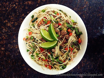 Spicy Beef and Basil Vermicelli Noodles