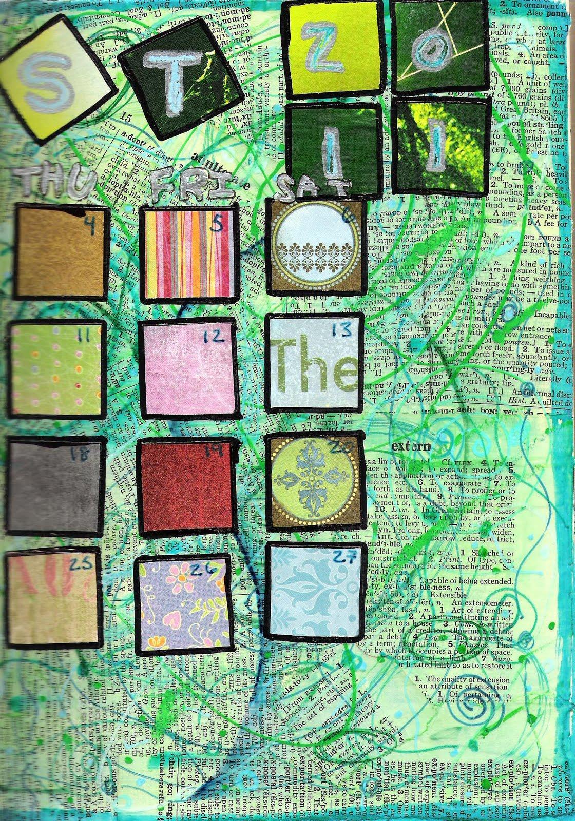 Art Journal Calendar Pages : Kaotickrafter august s altered art journal calendar