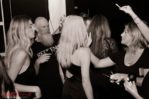 Final touches to H&MU backstage, for Watson x Watson, MBFWA. Photograph by Kent Johnson.
