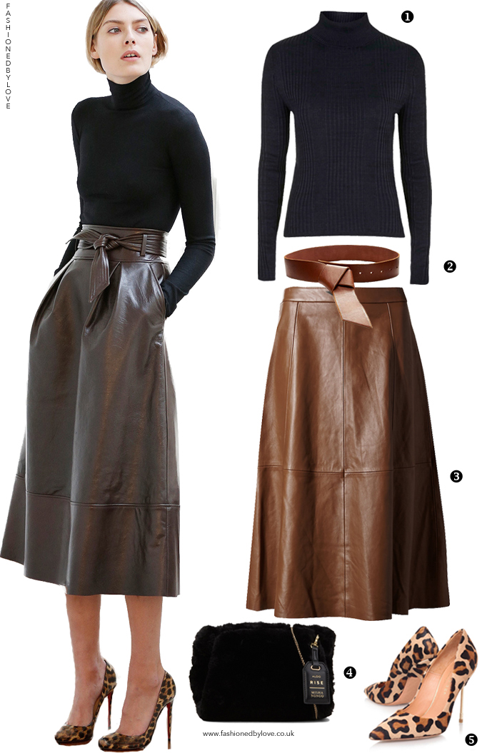 Via www.fashionedbylove.co.uk A designer look for less outfit inspired by martin grant pre-fall 2015 collection and parisian style featuring leather midi skirt, turtle neck and animal print pumps.