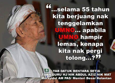 "Y ""D"" WANG BETRAYED "" AMANAT TOK GURU NIK AZIZ ! ""  SUPPORTING A ""ZALIM "" NTR AS PM ?PRO ISH PARTY"
