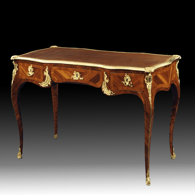 "Jacques Dubois, Paris, Louis XV period, circa 1750.ak frame ; kingwood and satinwood marquetry ; ormolu ; leather. Stamp : I DUBOIS and the JME stamp (""Jurande des Menuisiers Ebénistes"")"