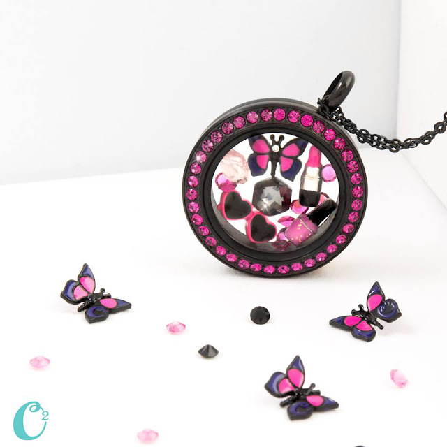 Origami Owl Black Twist Locket Face with Fuchsia Crystals available at StoriedCharms.com