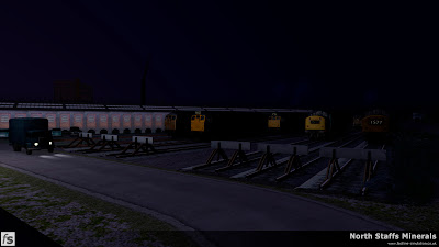Fastline Simulation - North Staffs Minerals: Cockshute Stabling Sidings by night with classes 24, 25 and 40 waiting their next turn of duty.