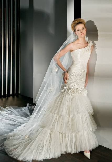 Taffeta and Tulle One-Shoulder Mermaid 2 in 1 Wedding Dress