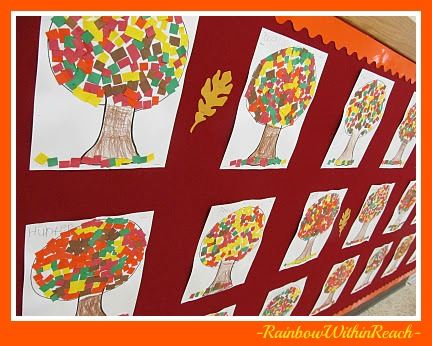 photo of: Bulletin Board of Fall Trees made with 'Mosaic' Leaves (Bulletin Board RoundUP via RainbowsWIthinReach) 