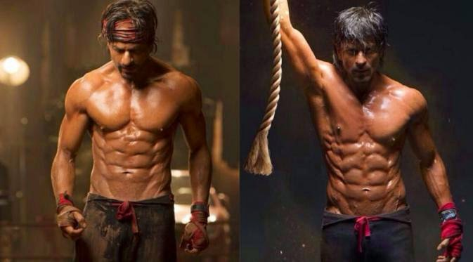 Foto Shahrukh Khan Sixpack Otot Perut Eight Packs Film Happy New Year Bollywood