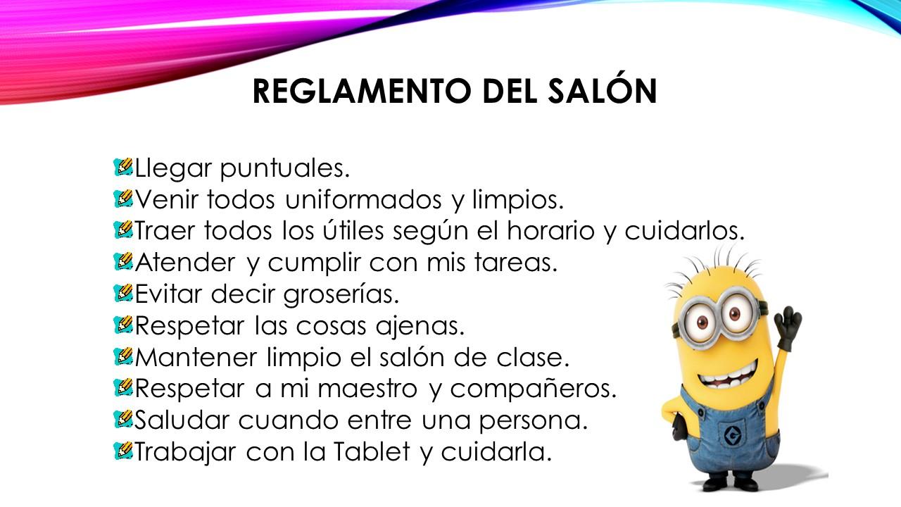 Carlos castro morales 2015 2016 reglamento del sal n de for 10 reglas del salon de clases en ingles