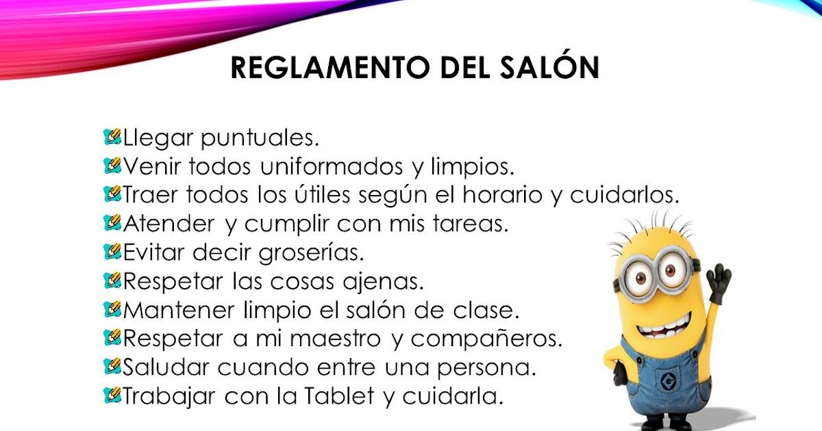 Carlos castro morales 2015 2016 reglamento del sal n de for 5 reglas del salon de clases