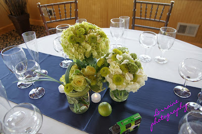 lime and navy wedding table set up