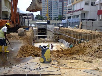 Damansara Uptown Phase 2 access tunnel to underground car park under construction