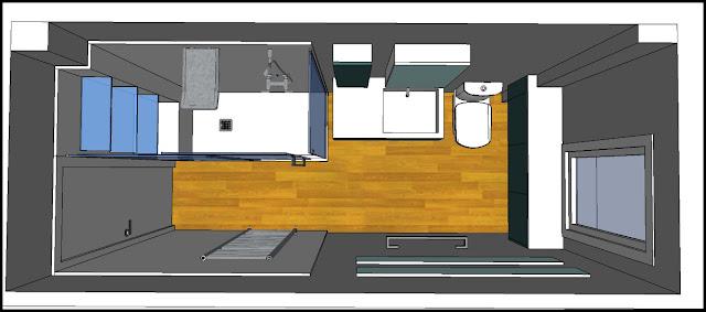 Los hogares que habitamos proyecto ba o m carmen soluci n azul plomizo grises - Distribucion bano alargado ...