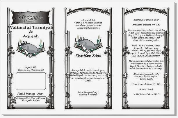 Download Undangan Walimatul Tasmiyah & Aqiqoh Gratis Format 3 Kolom