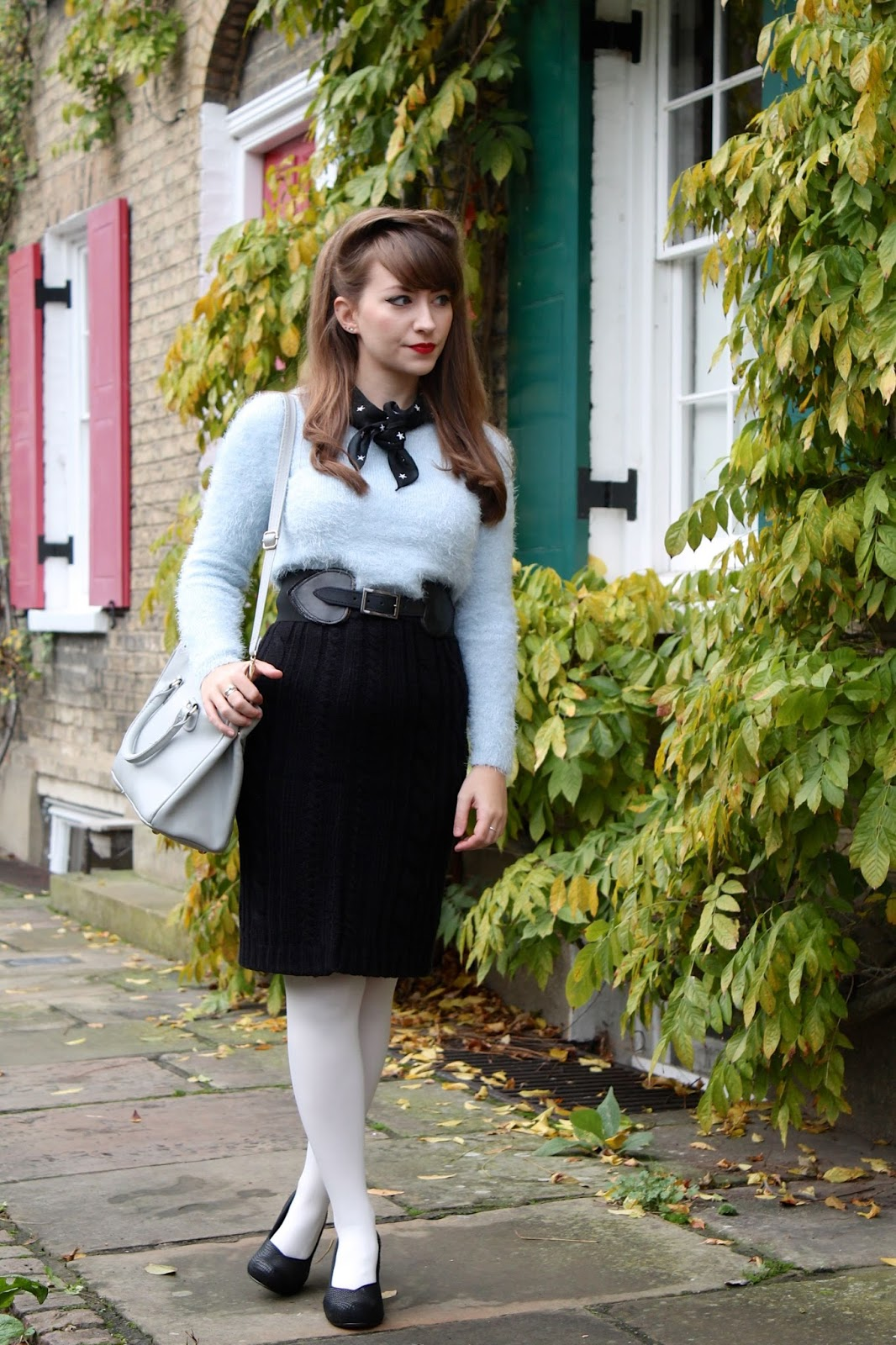 50s style fluffy jumper with knitted pencil skirt