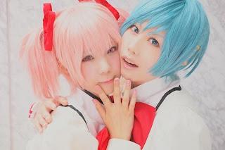Kousaka Yun and Watomune cosplay as Kaname and Sayaka from Puella Magi Madoka Magica