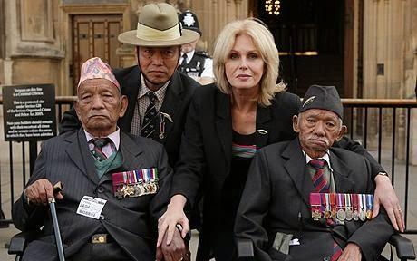 EX-British Gorkha soliders and Joanna Lumley