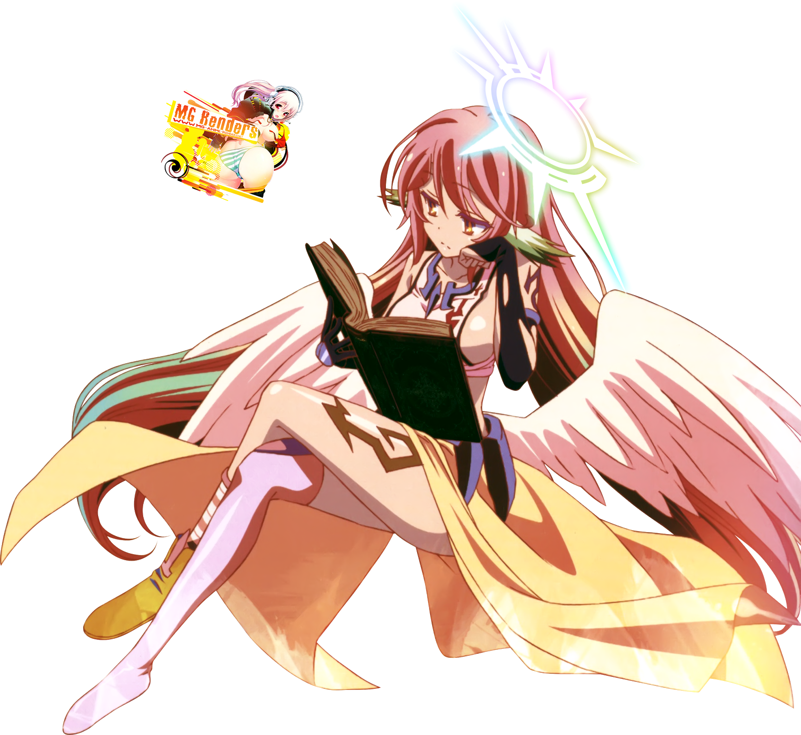 Tags: Anime, Render,  Crossed Legs,  Jibril,  No Game No Life, PNG, Image, Picture