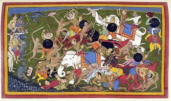 La batalla entre el rey dios Rama y el demoníaco rey de Lanka.