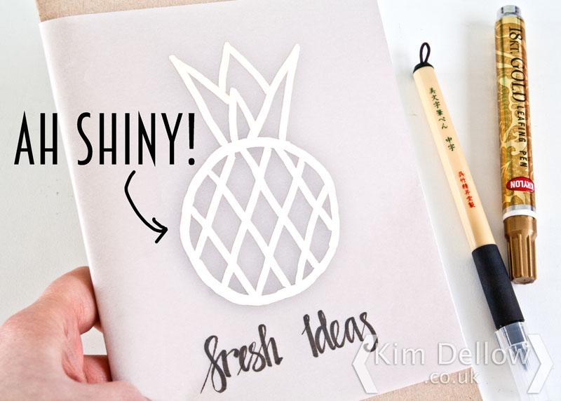 Leafing pen Pineapple sketch on Vellum