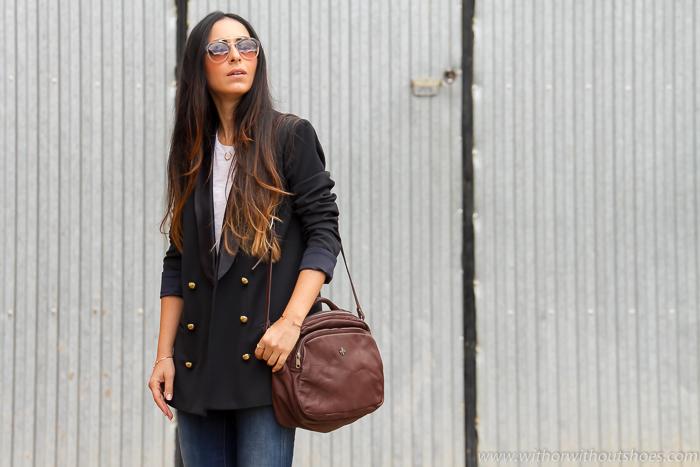Blogger  española de moda con bolso de cuero marron de Hakei #hakeibloggers