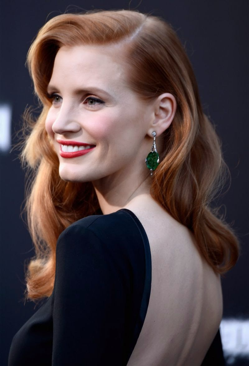 Jessica Chastain dazzled in Fred Leighton jewels this evening at the premiere of 'Interstellar.'