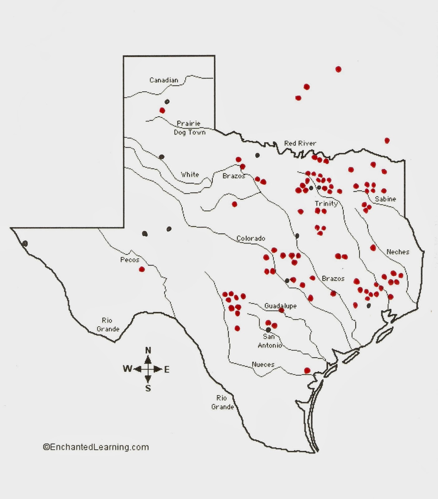 Texas Cryptid Hunter Black Panther Sighting Distribution Map - Map of texas cities and rivers