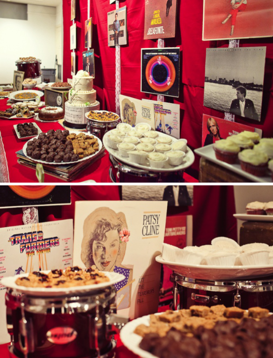 matrimonio tema musica, rock'n'roll wedding dessert table