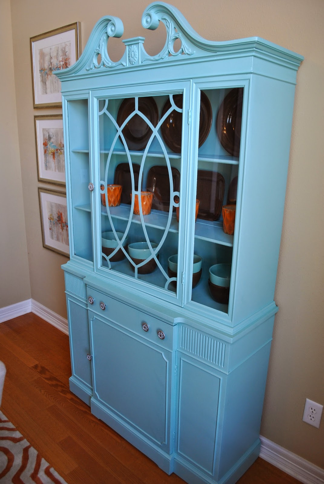Emily Kept The Original Hardware On China Cabinet And Painted It Silver So Fun Right Now I Have Some Of My Everyday Target Dishes In There