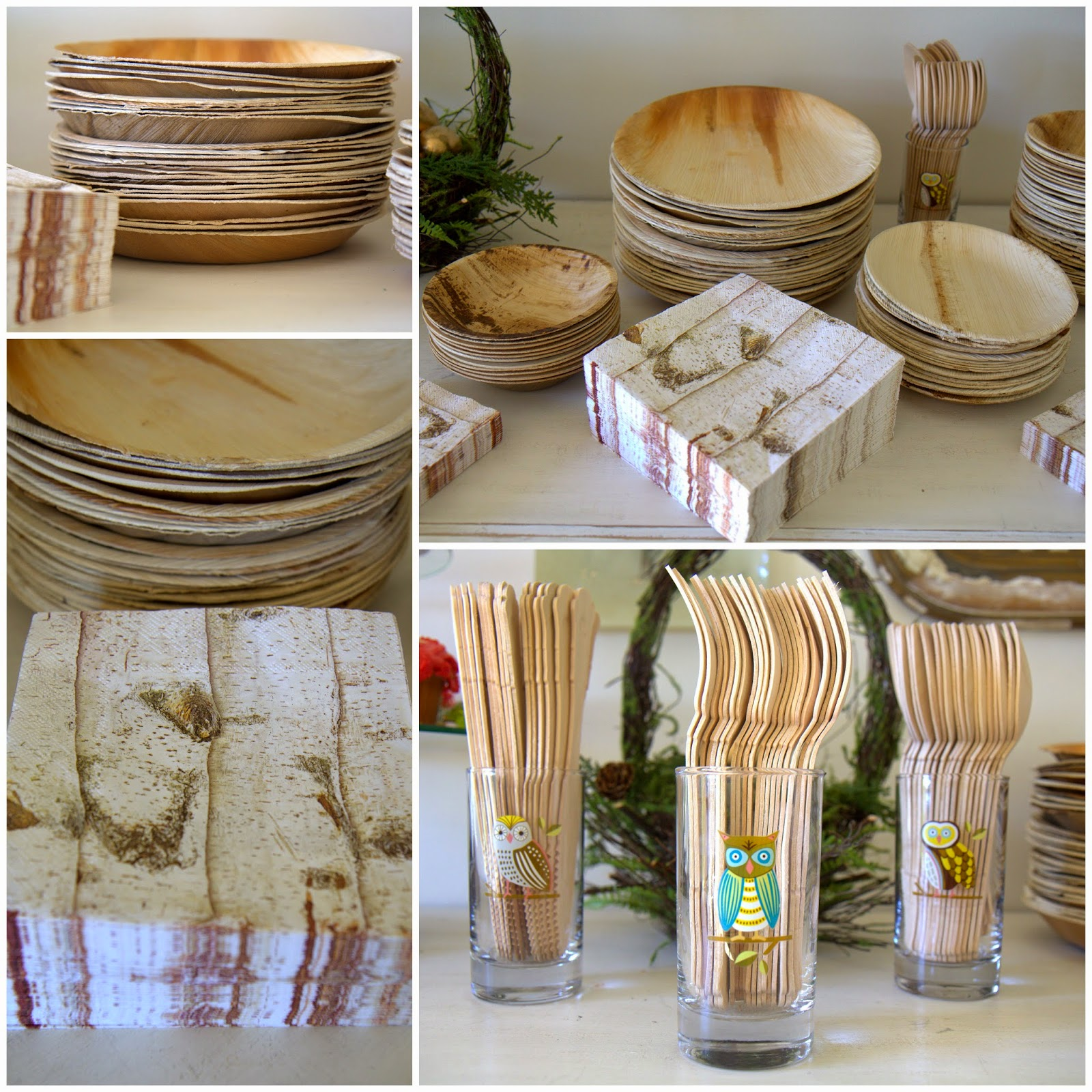 Woodland Party; Buffet table, wood plates, flatware, birch napkins, and owl glasses: Nora's Nest